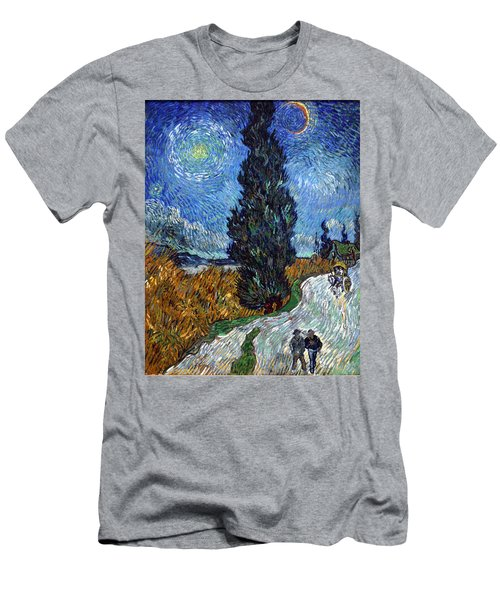 Saint-remy Road With Cypress And Star Men's T-Shirt (Athletic Fit)