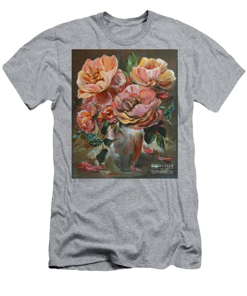 Men's T-Shirt (Athletic Fit) featuring the painting Salmon Rose by Ryn Shell