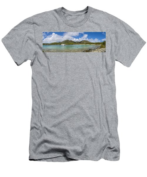 Men's T-Shirt (Slim Fit) featuring the photograph Salt Pond Bay Panoramic by Adam Romanowicz