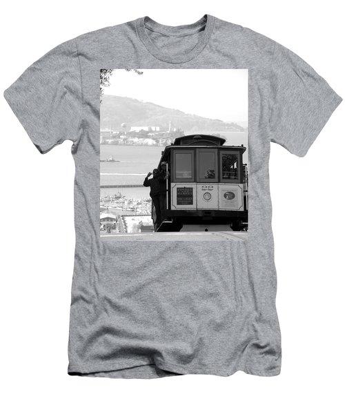 San Francisco Cable Car With Alcatraz Men's T-Shirt (Athletic Fit)