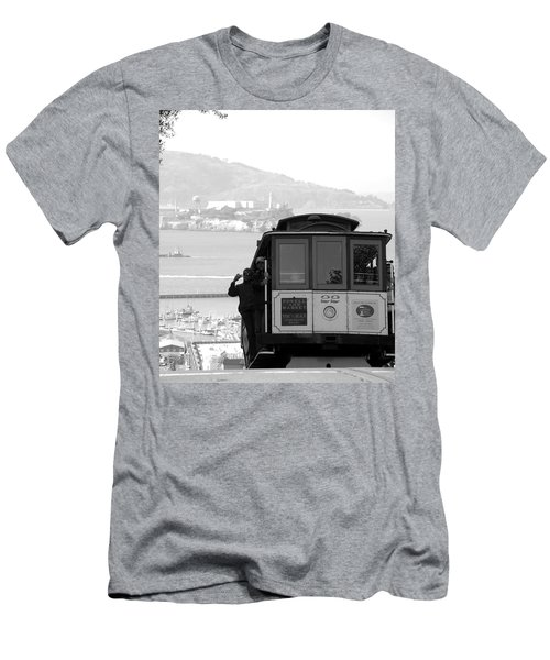 San Francisco Cable Car With Alcatraz Men's T-Shirt (Athletic Fit)