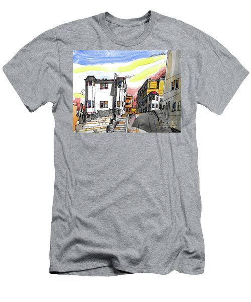 Men's T-Shirt (Slim Fit) featuring the painting San Francisco Side Street by Terry Banderas
