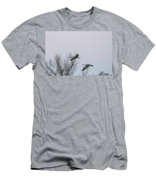 Sandhill Cranes Flying Men's T-Shirt (Athletic Fit)