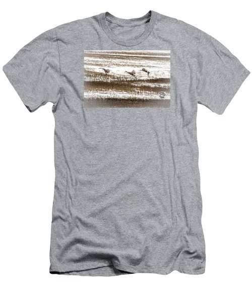 Men's T-Shirt (Slim Fit) featuring the photograph Sandhill Touch Down by Daniel Hebard