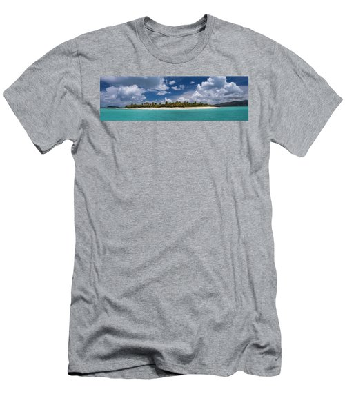 Men's T-Shirt (Athletic Fit) featuring the photograph Sandy Cay Beach British Virgin Islands Panoramic by Adam Romanowicz