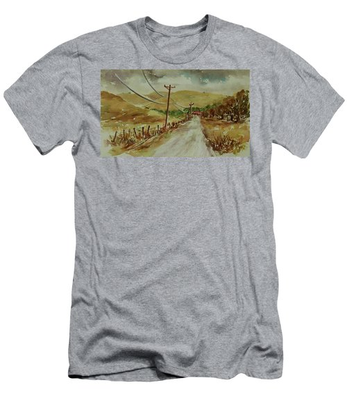 Men's T-Shirt (Athletic Fit) featuring the painting Santa Teresa County Park California Landscape 1 by Xueling Zou