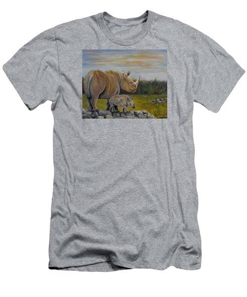 Savanna Overlook, Rhinoceros  Men's T-Shirt (Athletic Fit)