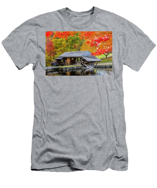 Sawmill Reflection, Autumn In New Hampshire Men's T-Shirt (Slim Fit) by Betty Denise