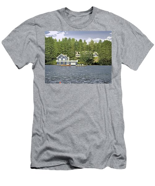 Men's T-Shirt (Slim Fit) featuring the painting Schultz Summer Home Muskoka by Kenneth M Kirsch