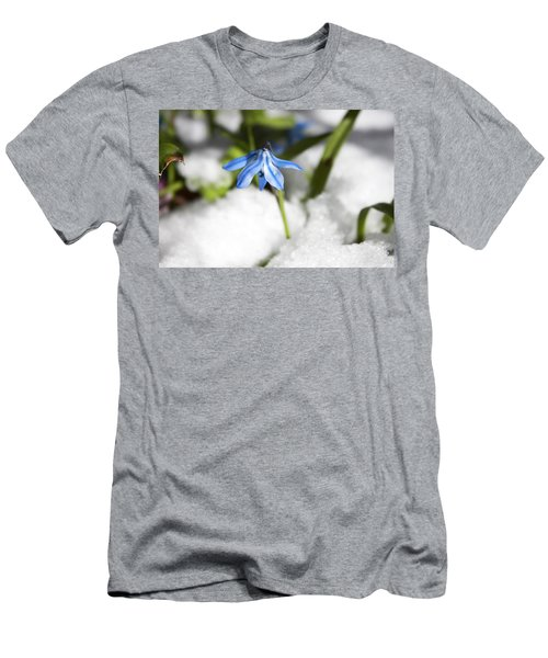 Men's T-Shirt (Slim Fit) featuring the photograph Scilla In Snow by Jeff Severson