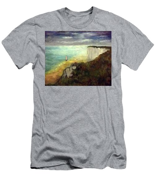 Sea, Cliffs, Beach And Lighthouse Men's T-Shirt (Athletic Fit)
