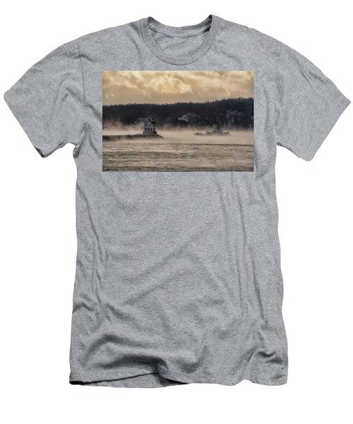 Sea Smoke At Rockland Breakwater Light Men's T-Shirt (Athletic Fit)