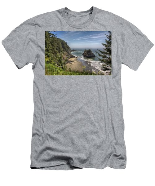 Sea Stacks And Wildflowers Men's T-Shirt (Athletic Fit)
