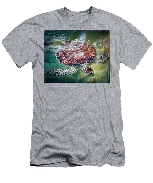Sea Turtle Dive Men's T-Shirt (Athletic Fit)