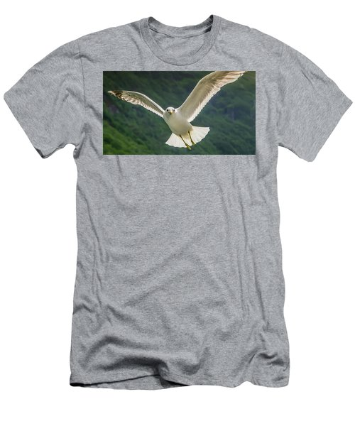 Men's T-Shirt (Athletic Fit) featuring the photograph Seagull At The Fjord by KG Thienemann