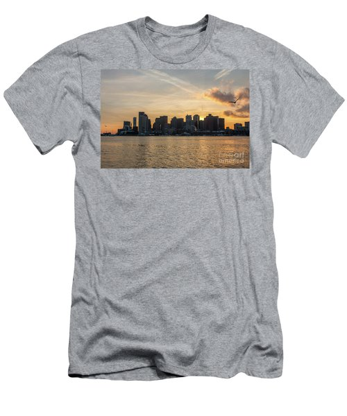 Seagull Flying At Sunset With The Skyline Of Boston On The Backg Men's T-Shirt (Athletic Fit)