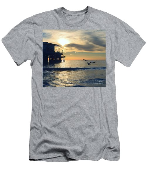 Seagull Pier Sunrise Seascape C2 Men's T-Shirt (Athletic Fit)