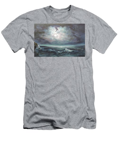 Men's T-Shirt (Slim Fit) featuring the painting Moonlit  by Luczay