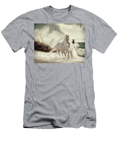 Men's T-Shirt (Athletic Fit) featuring the digital art Seashore Frolic by Melinda Hughes-Berland