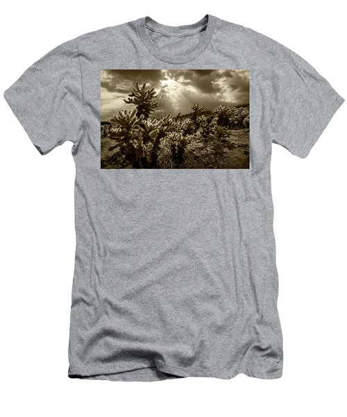 Men's T-Shirt (Slim Fit) featuring the photograph Sepia Tone Of Cholla Cactus Garden Bathed In Sunlight by Randall Nyhof