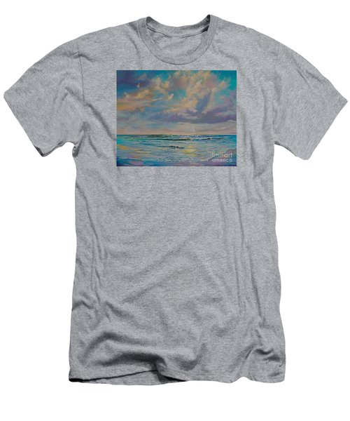 Men's T-Shirt (Slim Fit) featuring the painting Serene Sea by AnnaJo Vahle