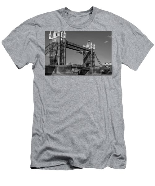 Men's T-Shirt (Slim Fit) featuring the photograph Seven Seconds - The Tower Bridge Hawker Hunter Incident Bw Versio by Gary Eason