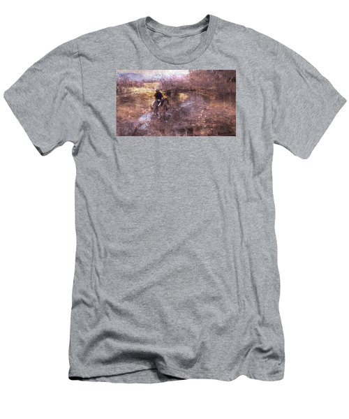 She Rides A Mustang-wrangler In The Rain II Men's T-Shirt (Athletic Fit)