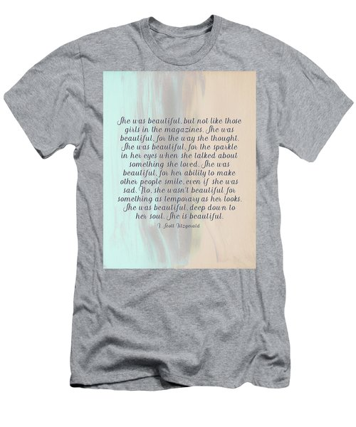 She Was Beautiful By F. Scott Fitzgerald 4 #painting #minimalism #poem Men's T-Shirt (Athletic Fit)