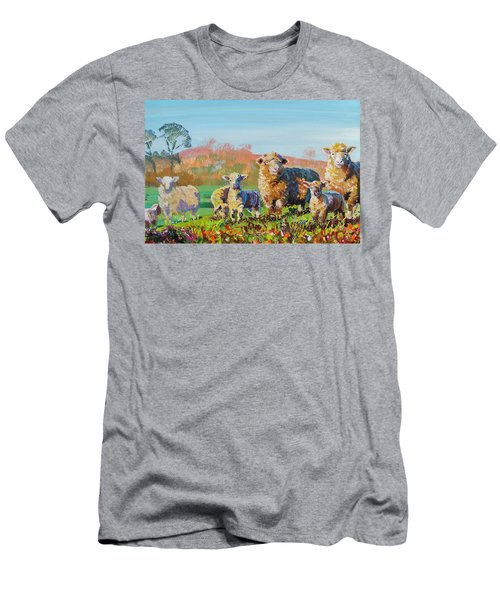 Sheep And Lambs In Devon Landscape Bright Colors Men's T-Shirt (Athletic Fit)