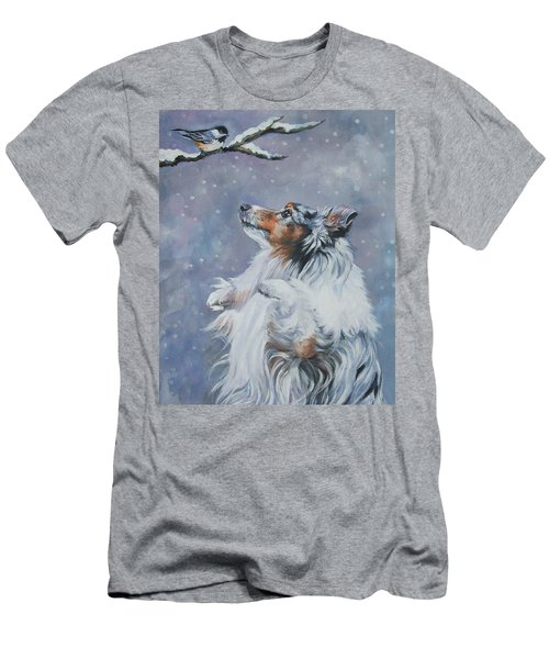 Shetland Sheepdog With Chickadee Men's T-Shirt (Athletic Fit)