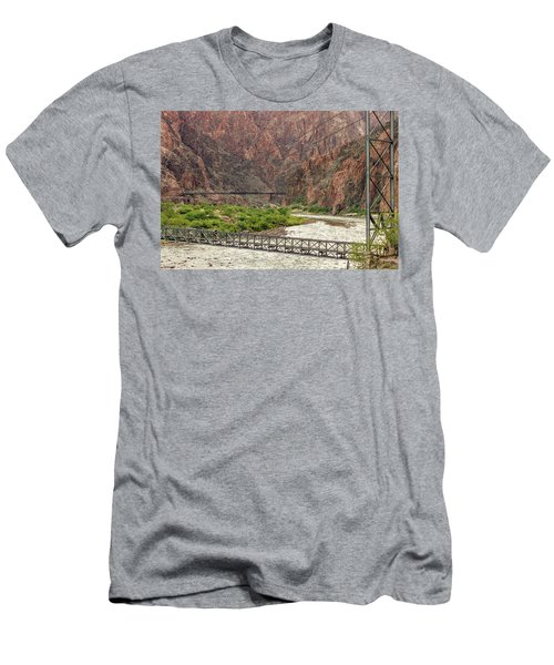 Silver And Black Bridges Over The Colorado, Grand Canyon Men's T-Shirt (Athletic Fit)