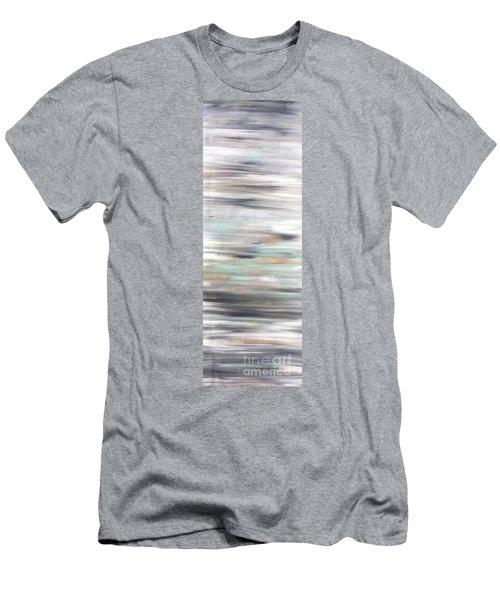 Silver Coast #25 Silver Teal Landscape Original Fine Art Acrylic On Canvas Men's T-Shirt (Athletic Fit)