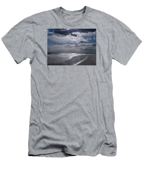 Men's T-Shirt (Slim Fit) featuring the photograph Silver Linings Trim The Sea by Lynda Lehmann