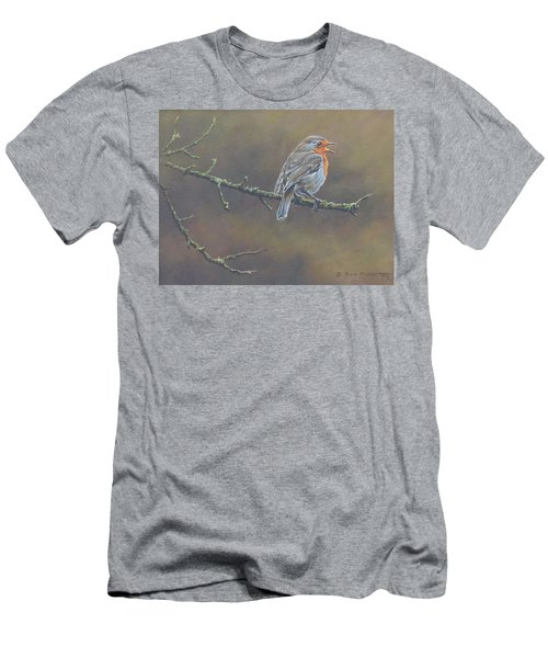 Men's T-Shirt (Athletic Fit) featuring the painting Singing Robin by Alan M Hunt