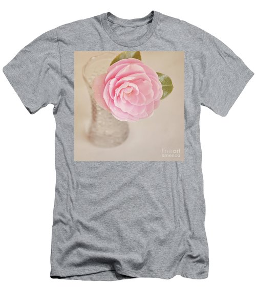 Men's T-Shirt (Slim Fit) featuring the photograph Single Pink Camelia Flower In Clear Vase by Lyn Randle