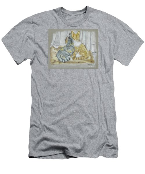 Men's T-Shirt (Slim Fit) featuring the drawing Sisters  by Carol Wisniewski