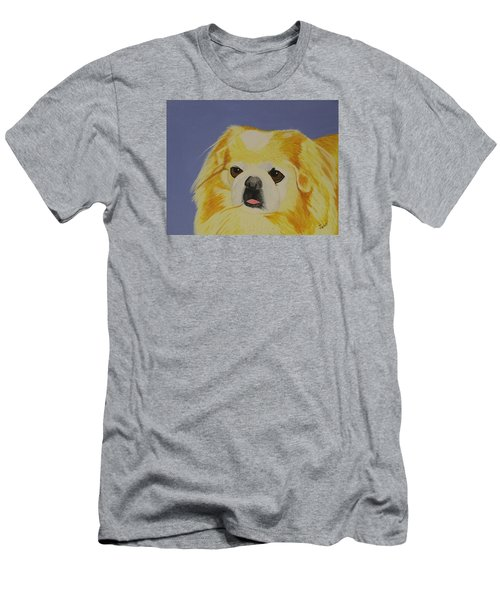 Men's T-Shirt (Slim Fit) featuring the painting Skeeter The Peke by Hilda and Jose Garrancho