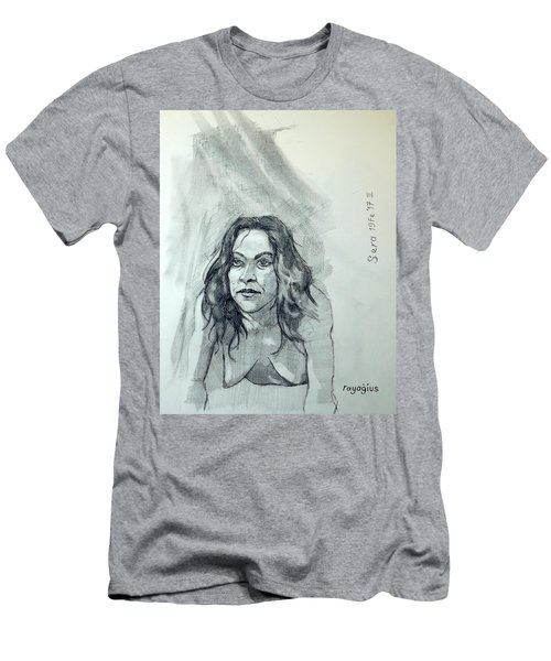 Men's T-Shirt (Slim Fit) featuring the painting Sketch For Sera.10.01 by Ray Agius