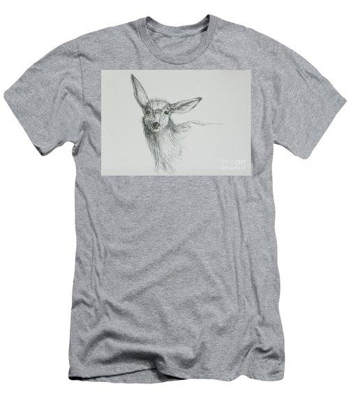 Sketch Of A Mule Deer Doe Men's T-Shirt (Slim Fit) by Dawn Senior-Trask