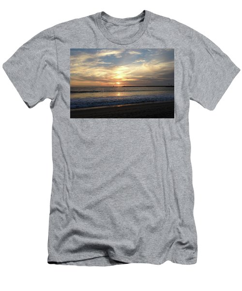Men's T-Shirt (Athletic Fit) featuring the photograph Sky Swirls Over Toes Beach by Lorraine Devon Wilke