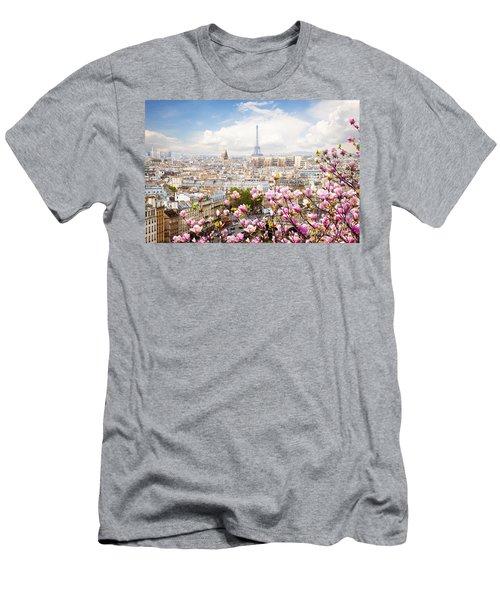 skyline of Paris with eiffel tower Men's T-Shirt (Slim Fit) by Anastasy Yarmolovich