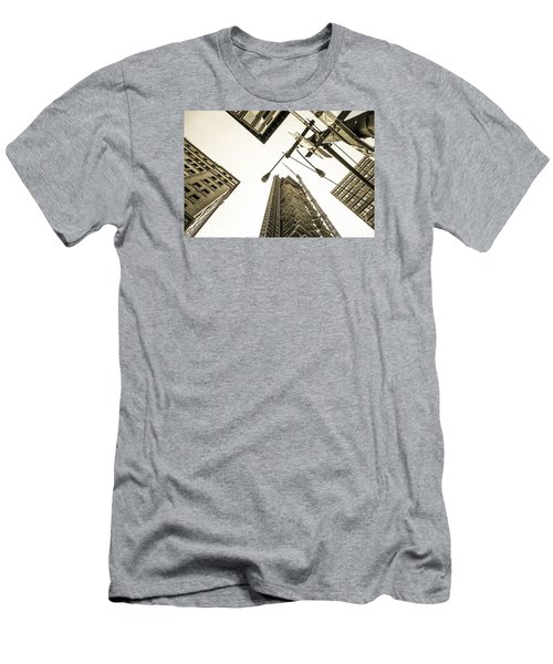 Skyscrapers In New York Seen From Men's T-Shirt (Athletic Fit)