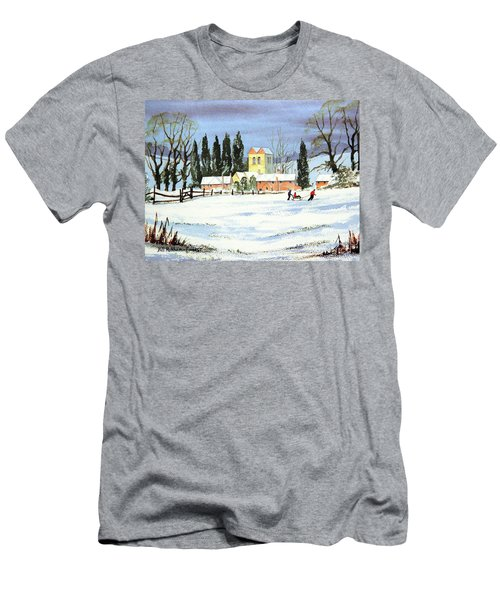 Sledding With Dad Men's T-Shirt (Slim Fit) by Bill Holkham