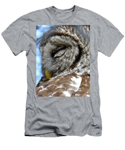 Sleeping Barred Owl Men's T-Shirt (Slim Fit) by Rebecca Overton
