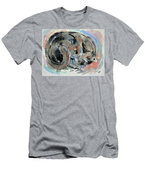 Men's T-Shirt (Slim Fit) featuring the painting Sleeping Tortoiseshell Cat by Zaira Dzhaubaeva