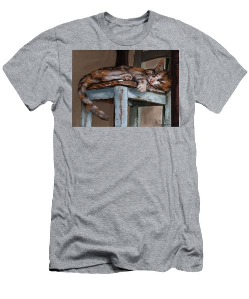 Sleepting Cat Men's T-Shirt (Athletic Fit)