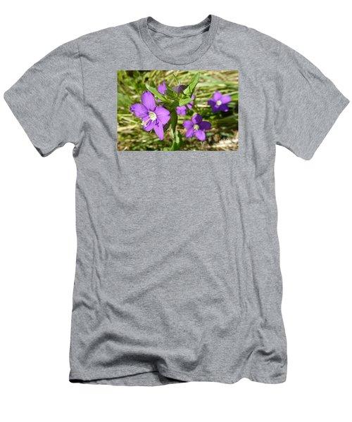 Men's T-Shirt (Slim Fit) featuring the photograph Small Mauve Flowers by Jean Bernard Roussilhe