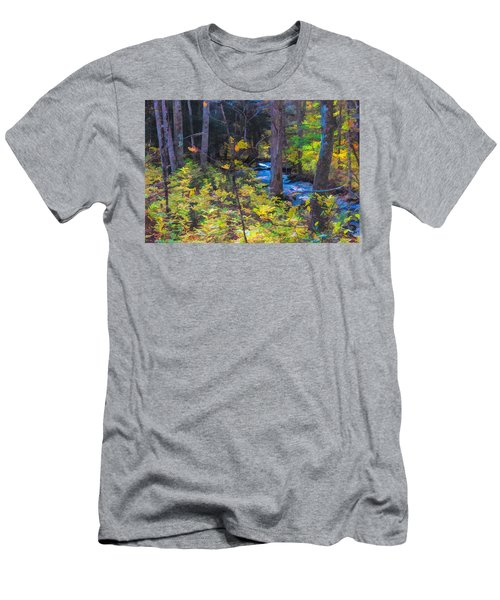 Small Stream Through Autumn Woods Men's T-Shirt (Athletic Fit)