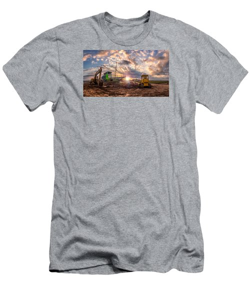 Men's T-Shirt (Slim Fit) featuring the photograph Smart Financial Centre Construction Sunset Sugar Land Texas 11 21 2015 by Micah Goff