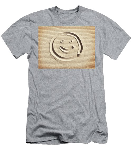 Smiley Drawn In The Sand Men's T-Shirt (Athletic Fit)